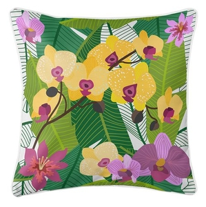 Orchid Garden Coastal Pillow