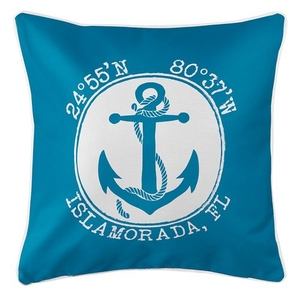 Personalized Coordinates Anchor Coastal Pillow - Blue