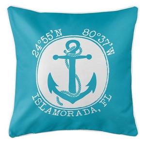 Personalized Coordinates Anchor Coastal Pillow - Calypso
