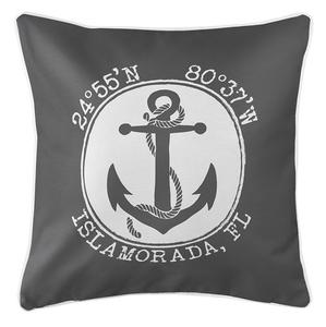 Personalized Coordinates Anchor Coastal Pillow - Gray