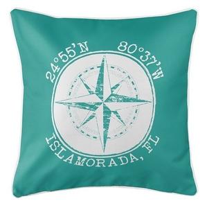 Personalized Coordinates Compass Rose Coastal Pillow - Aqua