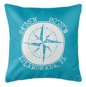Personalized Coordinates Compass Rose Coastal Pillow - Calypso