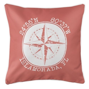 Personalized Coordinates Compass Rose Coastal Pillow - Coral