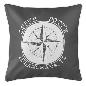 Personalized Coordinates Compass Rose Coastal Pillow - Gray
