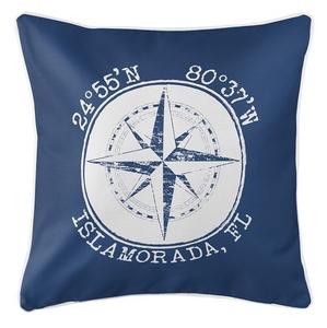 Personalized Coordinates Compass Rose Coastal Pillow - Navy