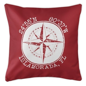 Personalized Coordinates Compass Rose Coastal Pillow - Red