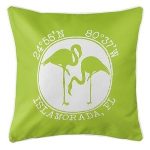 Personalized Coordinates Flamingo Coastal Pillow - Lime