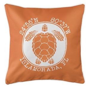 Personalized Coordinates Sea Turtle Coastal Pillow - Orange