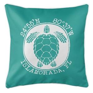 Personalized Coordinates Sea Turtle Coastal Pillow - Aqua