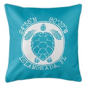 Personalized Coordinates Sea Turtle Coastal Pillow - Calypso