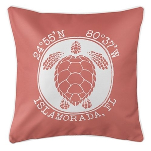 Personalized Coordinates Sea Turtle Coastal Pillow - Coral