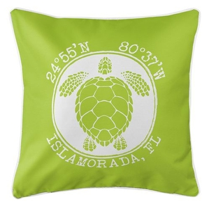 Personalized Coordinates Sea Turtle Coastal Pillow - Lime