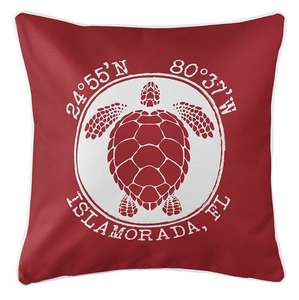 Personalized Coordinates Sea Turtle Coastal Pillow - Red