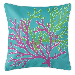 Coral Duo Pink & Green on Blue Coastal Pillow