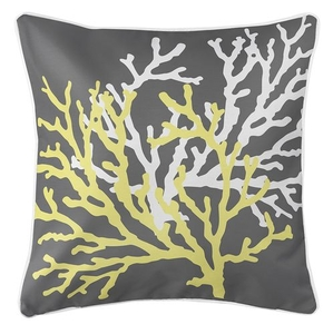 Coral Duo on Gray Coastal Pillow