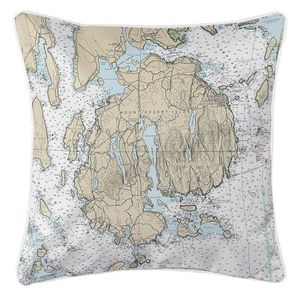 Mount Desert Island, Bar Harbor, Cranberry Islands, ME Nautical Chart Pillow
