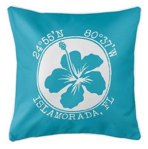 Personalized Coordinates Hibiscus Coastal Pillow - Calypso