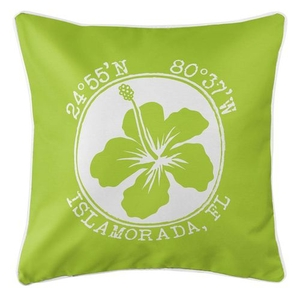 Personalized Coordinates Hibiscus Coastal Pillow - Lime