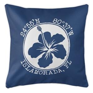 Personalized Coordinates Hibiscus Coastal Pillow - Navy