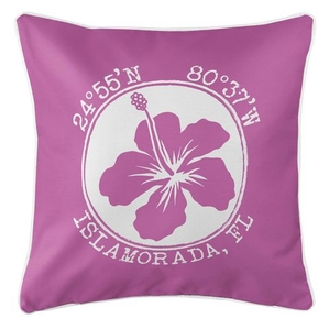 Personalized Coordinates Hibiscus Coastal Pillow - Pink