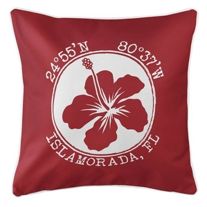 Personalized Coordinates Hibiscus Coastal Pillow - Red
