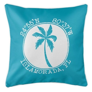 Personalized Coordinates Island Palm Coastal Pillow - Calypso