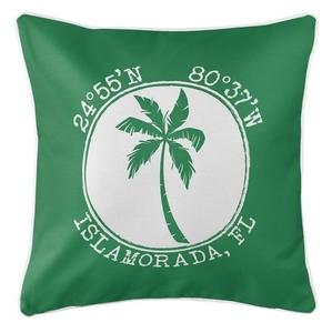 Personalized Coordinates Island Palm Coastal Pillow - Green