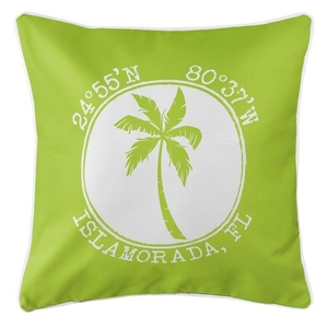 Personalized Coordinates Island Palm Coastal Pillow - Lime
