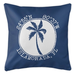 Personalized Coordinates Island Palm Coastal Pillow - Navy