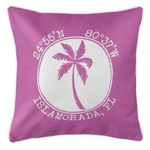 Personalized Coordinates Island Palm Coastal Pillow - Pink