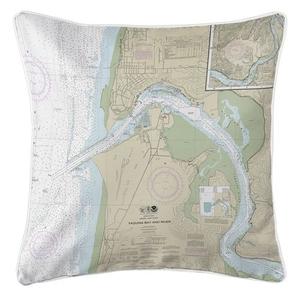 Yaquina Bay and River, Newport, OR Nautical Chart Pillow
