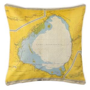 Lake Okeechobee, FL, C. 1958 Vintage Nautical Chart Pillow