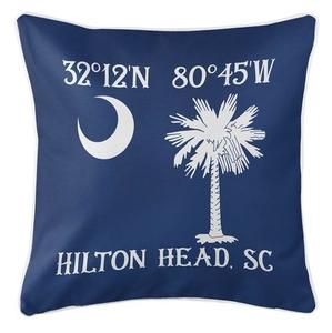 Personalized South Carolina Palm & Crescent Coordinates Coastal Pillow