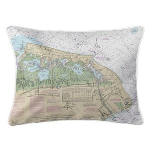 Wildwood, Cape May, NJ Nautical Chart Lumbar Coastal Pillow