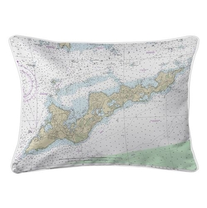 Fishers Island, NY Nautical Chart Lumbar Coastal Pillow