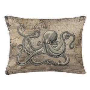 Octopus on Vintage Chart Lumbar Coastal Pillow