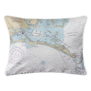 Gasparilla Island, FL Nautical Chart Lumbar Coastal Pillow