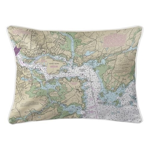 Portsmouth Harbor, NH Nautical Chart Lumbar Coastal Pillow