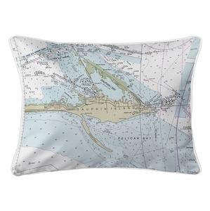 Dauphin Island, AL Nautical Chart Lumbar Coastal Pillow