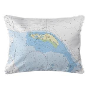 Anegada, BVI Nautical Chart Lumbar Coastal Pillow