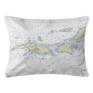 Saint Thomas, Saint John, USVI Nautical Chart Lumbar Coastal Pillow