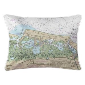 Wildwood, NJ Nautical Chart Lumbar Coastal Pillow