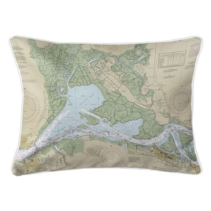 Suisun Bay, CA Nautical Chart Lumbar Coastal Pillow