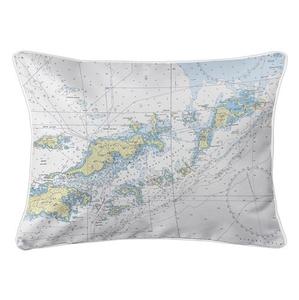 Tortola, Virgin Gorda, BVI Nautical Chart Lumbar Coastal Pillow