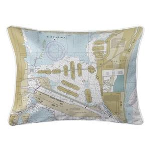 Miami Harbor, FL Nautical Chart Lumbar Coastal Pillow