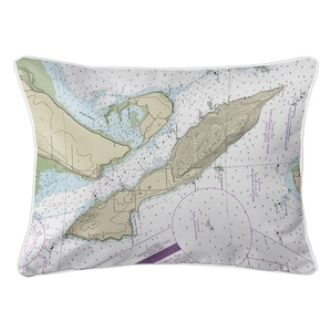 Lummi Island, WA Nautical Chart Lumbar Coastal Pillow
