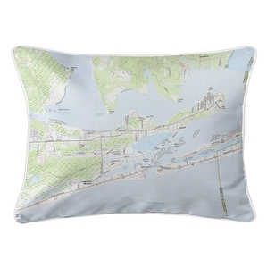 Orange Beach, AL Topo Map Lumbar Coastal Pillow