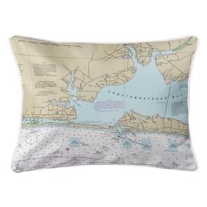 Fort Walton Beach, Destin, FL Nautical Chart Lumbar Coastal Pillow