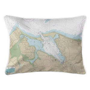Port Jefferson Harbor, NY Nautical Chart Lumbar Coastal Pillow