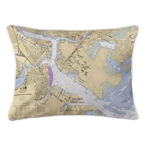 Boston, MA Nautical Chart Lumbar Coastal Pillow